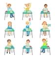 Children Sitting At School Desks In Class vector image vector image