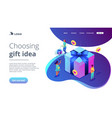 choosing gift idea isometric 3d landing page vector image