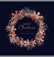 christmas and new year copper snow greeting card vector image