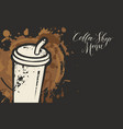 coffee shop menu with disposable paper cup vector image