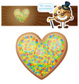 colorful sprinkles heart cookie vector image vector image