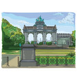 colorful triumphal arch in the park of the vector image vector image