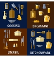 Cooking utensil and kitchenware flat icons vector image