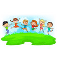 cute kids jumping on green meadow and blue sky vector image