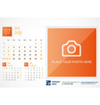 Desk Calendar 2016 Print Template July Week Starts vector image