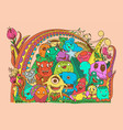 doodles color monsters collection set vector image vector image