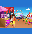 family playing in an amusement park vector image vector image