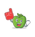 foam finger green apple character cartoon vector image vector image