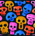 funny watercolor skeleton skull seamless pattern vector image