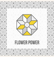 Geometric flower icon grey and yellow black line vector image