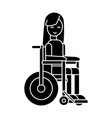 girl disabled in wheelchair icon vector image