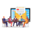giving feedback to users or customers website vector image