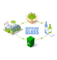 glass recycling process scheme isometric vector image