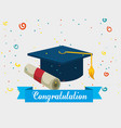 graduation hat with diploma vector image vector image