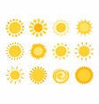 hand drawn funny cute sun icons vector image