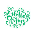 hello spring calligraphy lettering phrase hello vector image vector image