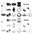 jewelry and accessories black icons in set vector image