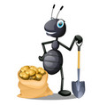 joyful ant with a shovel and a sack of potatoes vector image