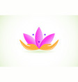lotus flower with abstract hands vector image vector image
