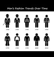 man fashion trend timeline clothing wear style vector image
