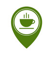 map pointer with hot tea cup icon isolated on vector image