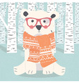 Merry Christmas postcard with hipster polar bear vector image vector image