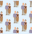 people happy senior love couple seamless pattern vector image vector image