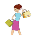 pretty girl at shopping vector image