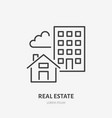 real estate flat line icon house and apartment vector image