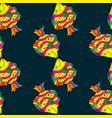 sea fish on dark blue background seamless pattern vector image