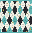 seamless blue argyle pattern with chaotic golden vector image vector image