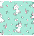 seamless pattern with magical unicorn and stars vector image