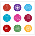 Set of Colorful Round Linear Style Icons vector image