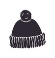 silhouette winter hat with pompon vector image