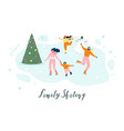 skating with family on ice rink concept vector image