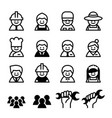 staff job worker career labor day icon set vector image vector image