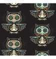 Sugar skull owls pattern Mexican day of the dead vector image