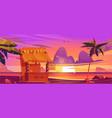 tiki bar with tribal masks on sea beach at sunset vector image vector image