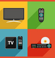 tv and television equipment flat design vector image vector image