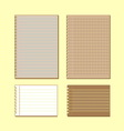 Vintage lined papers on yellow background vector image