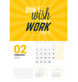 wall calendar template for february 2019 design vector image vector image