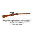 ww2 bolt-action rifle mosin nagant vector image