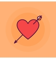 Heart with arrow flat vector image
