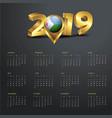 2019 calendar template djibouti country map vector image vector image