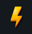 3d lightning icon cartoon style power charge vector image