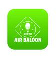 air balloon icon green vector image