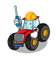 automotive tractor mascot cartoon style vector image vector image
