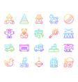 baby toy simple color line icons set vector image vector image
