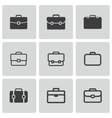 black briefcase icons set vector image