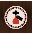 Bottle - drink coaster from Wonderland on Wooden vector image vector image